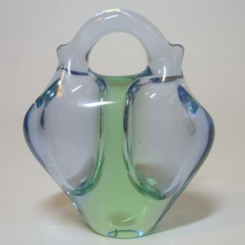 Skrdlovice #6242 Czech Blue & Green Glass Vase by Ladislav Palecek