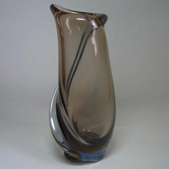 Skrdlovice #5645 Czech Amber & Blue Glass Vase by Emanuel Beránek