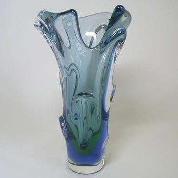 Mstisov / Moser Czech Blue Cased Glass Vase