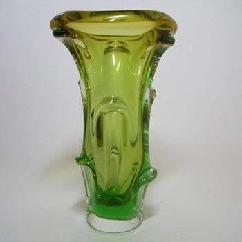 Mstisov/Moser Czech Amber & Green Glass Organic Vase