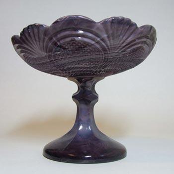 Davidson 1890's Victorian Malachite/Slag Glass Comport/Bowl