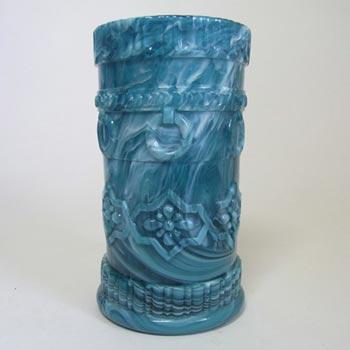 Victorian 1890's Turquoise Malachite/Slag Glass Vase