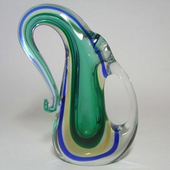 Murano/Venetian Sommerso Organic Green Glass Vase