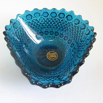 Sowerby #2266 1950s Turquoise Blue Glass Bowl - Labelled