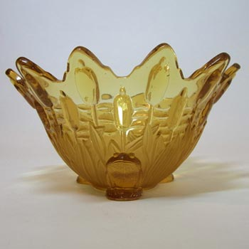 Sowerby Art Deco 1930s Amber Glass Frog + Bullrush Bowl