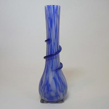 1930's Czech Blue + White Spatter/Splatter Glass Vase