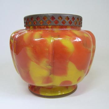 Czech Red/Yellow Spatter Glass Posy Vase