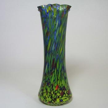 1930's Czech/Bohemian Spatter/Splatter Glass Vase
