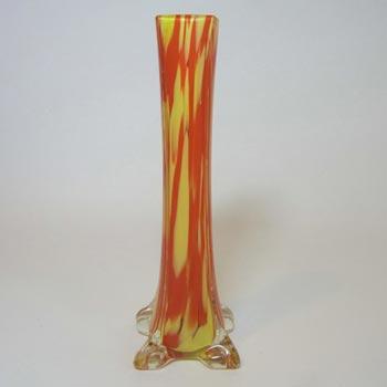 Czech 1930's Red & Yellow Spatter Glass Stem Vase
