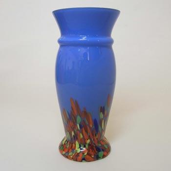 1930's Czech/Bohemian Blue Spatter/Splatter Glass Vase