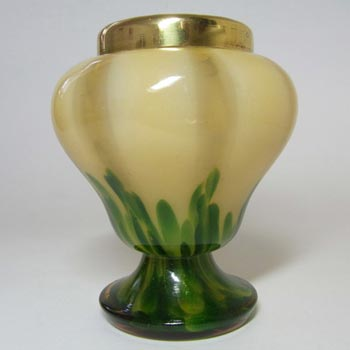 Franz Welz 1930s Czech Green Aventurine Glass Posy Vase