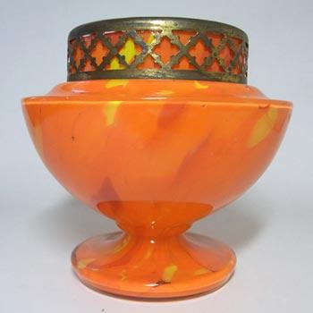 Czech 1930's Orange Spatter/Splatter Glass Posy Vase
