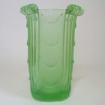 Stölzle #19680 Czech Art Deco 1930's Green Glass Vase