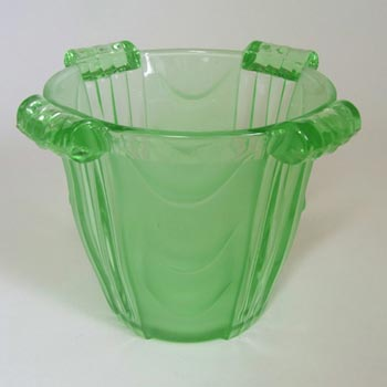 Stölzle #19682 Czech Art Deco 1930's Green Glass Celery Vase