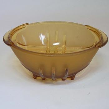 Stölzle Czech Art Deco 1930's Amber Glass Sugar Bowl