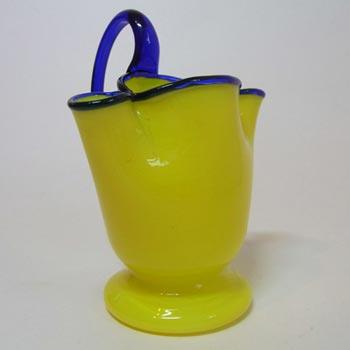 1930's Bohemian Retro Yellow & Blue Tango Glass Vase