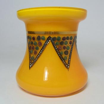 1930's Czech/Bohemian Hand Painted Orange Glass Vase