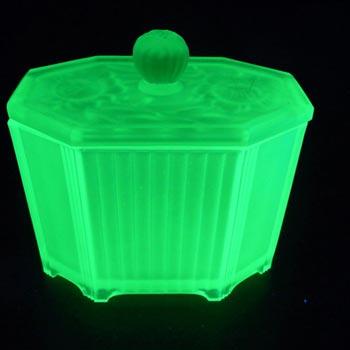Art Deco 1930's Uranium Green Glass Biscuit Jar/Pot