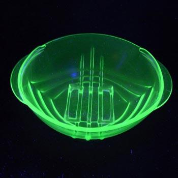 Stölzle Czech Art Deco 1930's Uranium Green Glass Bowl