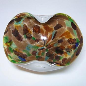 Vetro Artistico Veneziano Murano Glass Aventurine Bowl