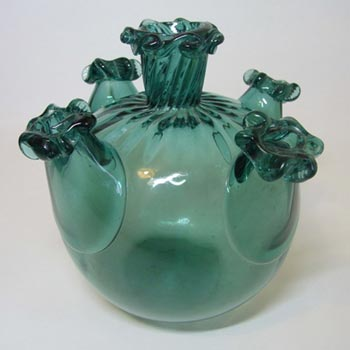 Gordiola Spanish Turquoise Glass Five Spout Vase