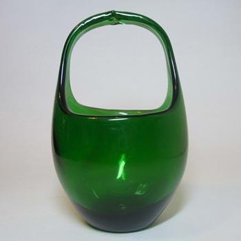 Empoli Verde Italian Green Glass 1970's Basket Bowl