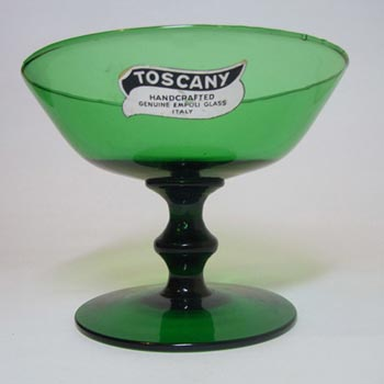 Empoli Verde Italian Green Glass Footed Bowl - Labelled