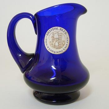 Thomas Webb Stourbridge Bristol Blue Glass Jug - Label