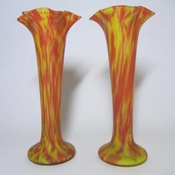 Pair of 1930's Czech Red/Yellow Spatter Glass Vases