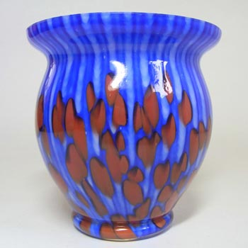 Franz Welz 1930's Czech Red/Blue Spatter Glass Vase