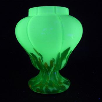 Welz 1930's Czech Uranium Green Aventurine Glass Posy Vase