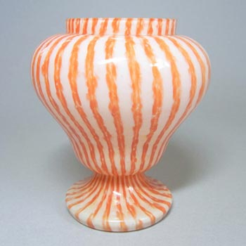 Franz Welz 1930's Czech Orange Striped Glass Posy Vase