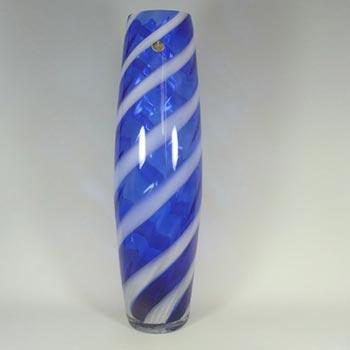Alrose Massive Italian Empoli Blue & White Glass Vase