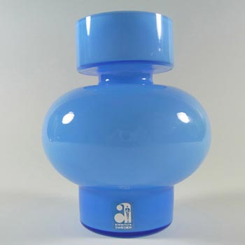 Alsterfors #S7032 Blue Glass Vase by Per Olof Strom - Labelled