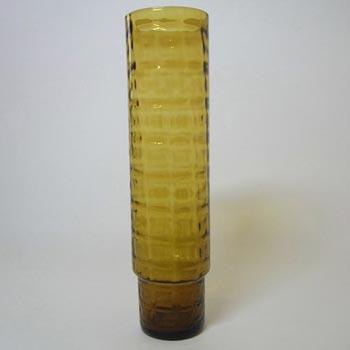 Alsterfors Scandinavian 1960's Amber Glass Ribbed Vase