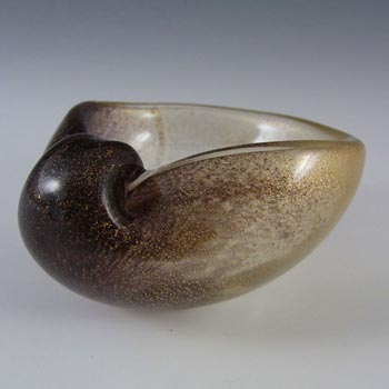 Archimede Seguso Gold Leaf Glass Shell Bowl - Labelled