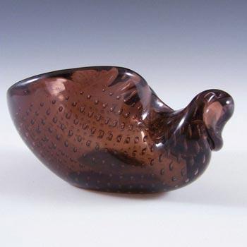 Archimede Seguso Murano Bullicante Glass Bowl - Labelled