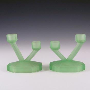 Bagley #3057 Art Deco Uranium Green Glass 'Bedford' Candlesticks