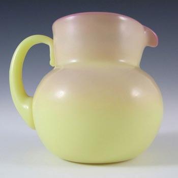 Victorian Burmese Uranium Pink & Yellow Glass Jug