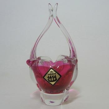 Chribska Czech Pink Glass Basket Bowl/Vase - Labelled