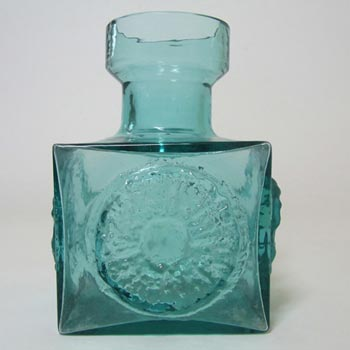 Dartington #FT66 Blue Glass Frank Thrower 'Sun' Vase - Label