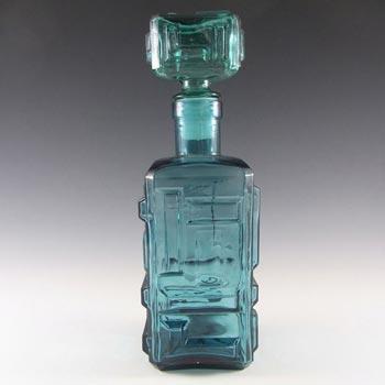 Empoli Italian Blue Glass Geometric Decanter/Bottle