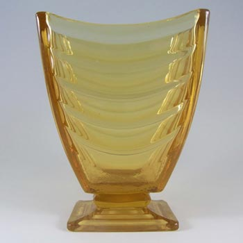 Sowerby #2617 Art Deco 1930's Amber Pressed Glass Vase