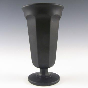 Davidson Art Deco 1930's Jet Black Glass Vase #1