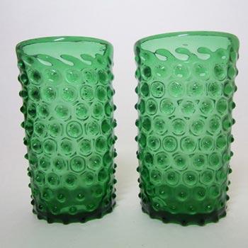 Empoli Verde Italian Green Glass Spikey Seed Pod Vases