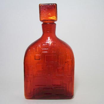 Empoli Italian Red Textured Glass Decanter/Bottle