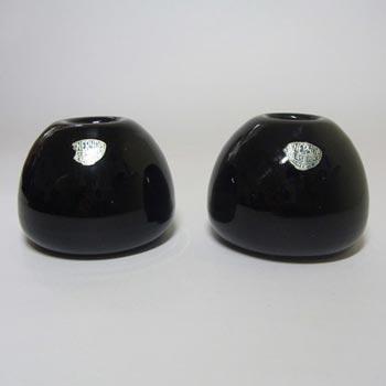 Eneryda Swedish Purple/Black Glass Candlesticks - Labelled