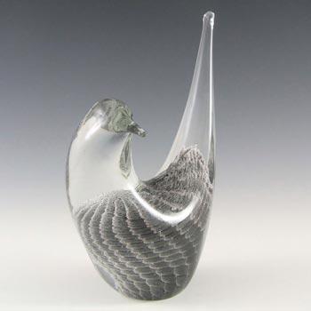 FM Konstglas/Marcolin Swedish Grey Glass Bird - Signed