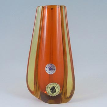 Galliano Ferro Murano Sommerso Orange & Amber Glass Stem Vase - Label