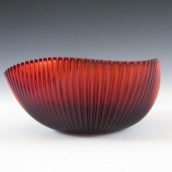 Gullaskruf Ruby Red Glass 'Reffla' Bowl by Arthur Percy